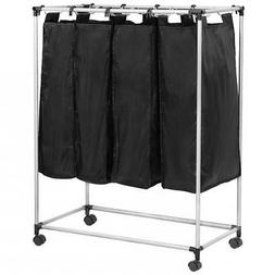 4 Laundry Sorter with Baskets Laundry Hamper Sorter Canvas R