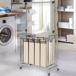 4 Section Rolling Laundry Cart Hamper Dirty Clothes Storage
