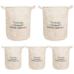 5X Folding Waterproof Canvas Storage Basket Bag Laundry Clot