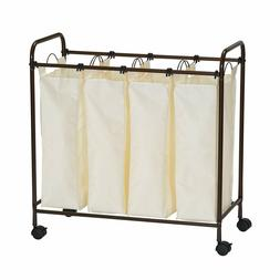 Household Essentials 7173 Rolling Quad Laundry Sorter with R