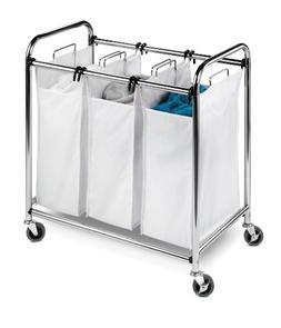 Honey-Can-Do SRT-01235 Heavy-Duty Triple Laundry Sorter, Chr