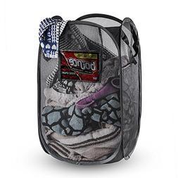 NYHI Extra Large Pop-up Foldable Black Mesh Laundry Hamper R