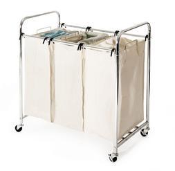 Seville Classics Mobile 3-Bag Heavy-Duty Laundry Hamper Sort