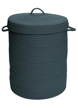 At Home Indoor Outdoor Braided Round Hamper, H041 Lake Blue