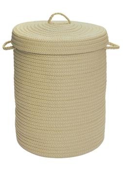 At Home Indoor Outdoor Braided Round Hamper, H182 Linen ~ Ma