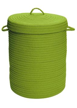 At Home Indoor Outdoor Braided Round Hamper, H271 Bright Gre