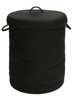 At Home Indoor Outdoor Braided Round Hamper, H031 Black ~ Ma