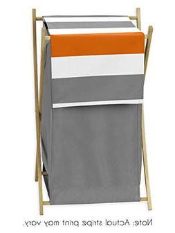 Baby/Kids Clothes Laundry Hamper for Gray and Orange Stripe