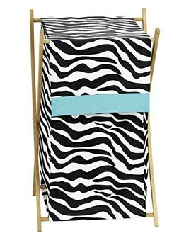 Baby and Kids Turquoise Funky Zebra Clothes Laundry Hamper b