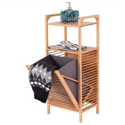 Bamboo 2-in-1 Laundry Hamper Side Table with 2 Shelves and C