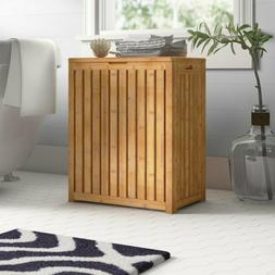 Bamboo Cabinet Laundry Hamper Sorter Wooden Storage Clothes