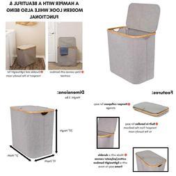 Birdrock Home Bamboo  Canvas Hamper - Single Laundry Basket