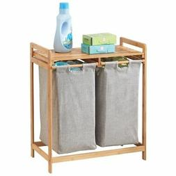 mDesign Bamboo Double Laundry Hamper, Large Capacity - Natur