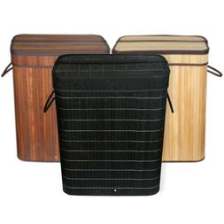 Bamboo Laundry Baskets W/Lid Double Hamper 2 section Clothes