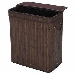 SONGMICS Bamboo Laundry Hamper 100L Dirty Clothes Storage Ba