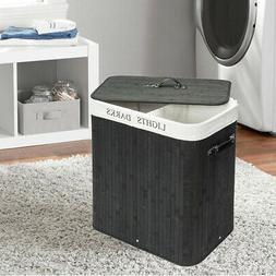 Bamboo Laundry Hamper Bag Wicker Holder Dirty Clothes Washin