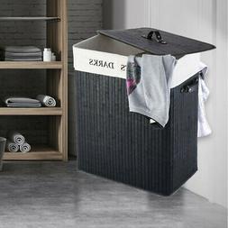 Bamboo Laundry Hamper Bag Wicker Organizer Clothes Washing S