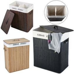 Bamboo Laundry Hamper Basket Dirty Clothes Storage Organizer