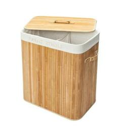 Bamboo Laundry Hamper Basket Washing Clothes Storage Bin Sor