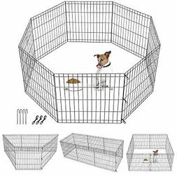 24 Inch 8 Panels Dog Playpen Tall Large Crate Fence Pet Play