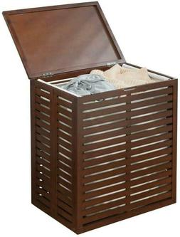 Mdesign Bamboo Laundry Hamper Basket With Removable Fabric L