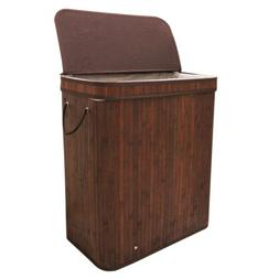 Bamboo Laundry Hamper Foldable Bin with Flap Lid & Reusable