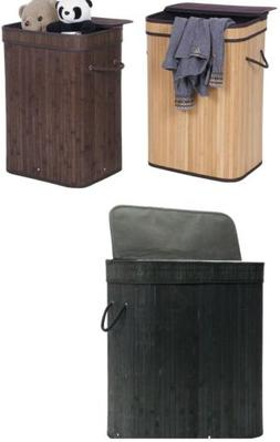 Bamboo Laundry Hamper Folding Cloth Storage Basket  with Lid