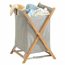 mDesign Bamboo Laundry Hamper, Portable/Collapsible Fabric B