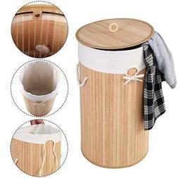 Bamboo Laundry Hamper Round Basket Wicker Clothes Storage Ba