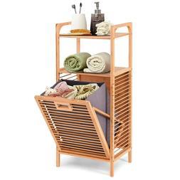 Bamboo Laundry Storage Cabinet Bathroom Nursery Tilt Out Ham