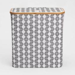 THRESHOLD Bamboo Rim Laundry Hamper with Lid | Geo Pattern |