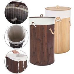 Barrel Type Bamboo Folding Basket Body with lid large Laundr