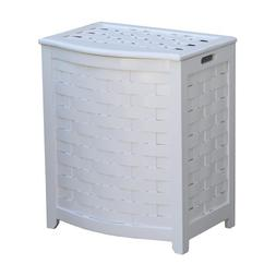 Oceanstar BHV0100W Bowed Front Veneer Laundry Wood Hamper, W