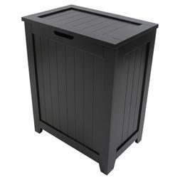 Black Wooden Hamper Bathroom Laundry Storage Bin Clothes Bas