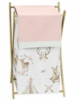 Boho Blush Pink Mint White Woodland Deer Floral Baby Kid Clo