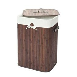 Breathable Bamboo Hamper Laundry Basket Washing Cloth Bin Li