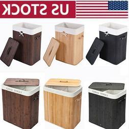 Breathable Foldable Bamboo Hamper Laundry Basket Washing Clo