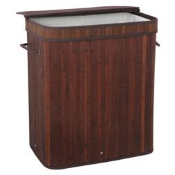 Bamboo Laundry Double Divided Hamper Dirty Clothes Storage B