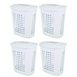 Bushell 24 in. Tall White Lift Top XL Laundry Basket Hamper