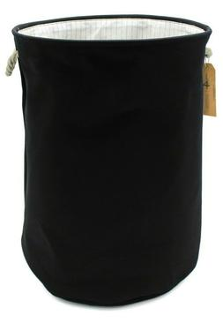 Canvas Collapsible Laundry Hamper, Black by Handcrafted 4 Ho