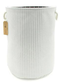 Canvas Collapsible Laundry Hamper, Pin Stripes by Handcrafte