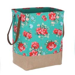 Pioneer Woman Canvas Laundry Hamper Teal Floral