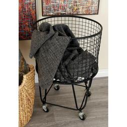 Rolling Metal Wire Laundry Basket Clothes Hamper Storage Bin