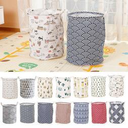 Clothes Laundry Bag Storage Washing Basket Cotton Linen Toys