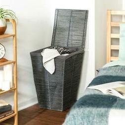 Honey Can Do Coastal Collection Wicker Laundry Hamper, Gray