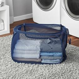 Collapsible 2-Way Mesh Laundry Clothes Hamper One PopUp Bask