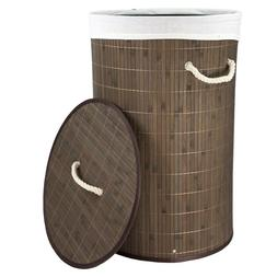 Home Basics Collapsible Bamboo Hamper with Lid Removable Lin