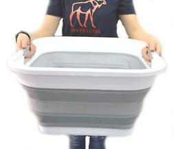 SAMMART Collapsible Plastic Laundry Basket - Square Tub/Bask