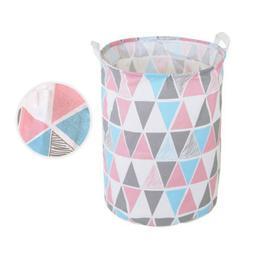 Colorful Tri Foldable Laundry Hamper Clothes Basket Cotton W