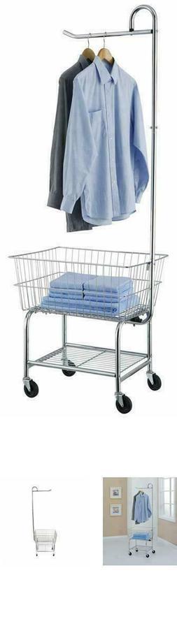 Commercial Laundry Butler Rolling Basket Cart Storage Rack M